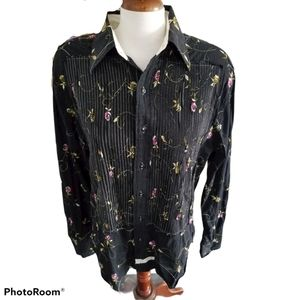 English Laundry Handsewn black floral blouse